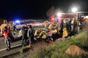 At least eight people were killed and nearly two dozen were injured when a bus carrying a group from Tijuana crashed on its way back from Big Bear Lake on Highway 38 north of Yucaipa on Sunday night. (Rick Sforza/Staff Photographer)
