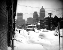 1950: Webster Avenue in downtown Pittsburgh is buried under snow. (AP Photo/Walter Stein)