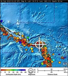 A bulletin released by the Pacific Tsunami Warning Center/NOAA/NWS issued on February 6, 2013 shows the area affected by the tsunami warning following a major earthquake measuring 8.0 magnitude off the Solomon Islands. A small tsunami hit the Solomon Islands on Wednesday after a major undersea earthquake sparked a tsunami warning for several South Pacific island nations and placed many more nations including Australia and Indonesia on alert. REUTERS/