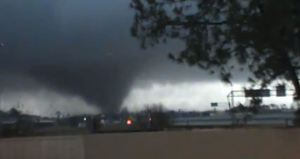 A tornado is pictured near Hattiesburg, Mississippi in this still image from a video shot by Rynal Grant February 10, 2013. The tornado, which touched down at approximately 1730 local time, was reported to have injured three people and caused damage to the nearby campus of the University of Southern Mississippi. REUTERS/Rynal Grant/Handout