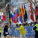 Police and runners react to an explosion during the Boston Marathon finish area in Boston, Massachusetts, April 15, 2013. REUTERS/MetroWest Daily News/Ken McGagh/Handout
