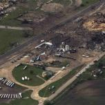 An aerial view shows the aftermath of a massive explosion at a fertilizer plant in the town of West, near Waco, Texas April 18, 2013.REUTERS/Adrees Latif