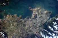 A clearer view of Vancouver on a sunny day - can clearly see the ferry terminal, airport and many boats in the Inlet.