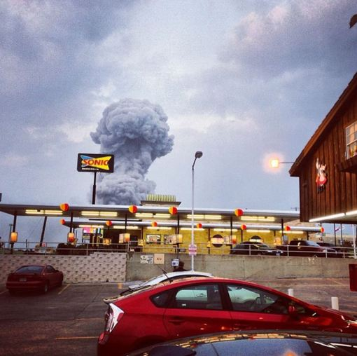 In this Instagram photo provided by Andy Bartee, a plume of smoke rises from a fertilizer plant fire in West, Texas on Wednesday, April 17, 2013. An explosion at a fertilizer plant near Waco Wednesday night injured dozens of people and sent flames shooting high into the night sky, leaving the factory a smoldering ruin and causing major damage to surrounding buildings. (AP Photo/Andy Bartee) MANDATORY CREDIT: ANDY BARTEE
