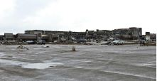 A shopping plaza lies in ruin after a huge tornado struck Moore, Oklahoma, near Oklahoma City, May 20, 2013. A massive tornado tore through the Oklahoma City suburb of Moore on Monday, killing at least 51 people as winds of up to 200 miles per hour (320 kph) flattened entire tracts of homes, two schools and a hospital, leaving a wake of tangled wreckage. REUTERS/Richard Rowe (UNITED STATES - Tags: DISASTER ENVIRONMENT