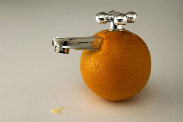Orange with a tap