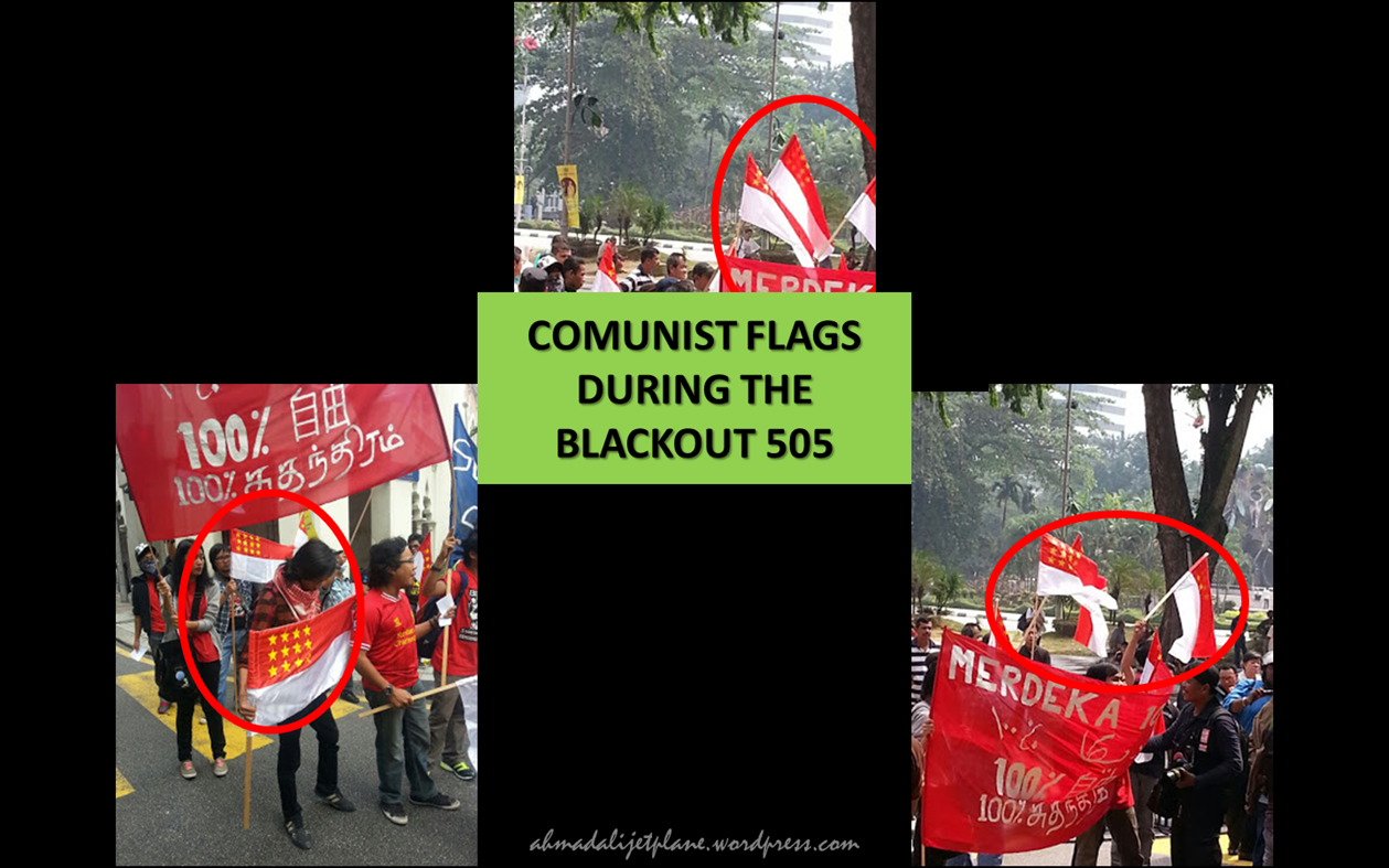 Flags in the circle are used by the Communists in Malaysia.