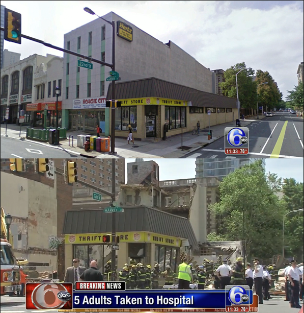 Screen shot from ABC channel 6 in Philadelphia showing the before and after of the collapsed building.