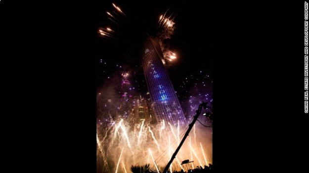The tower, which spirals at 90 degrees from the bottom to the top, was inaugurated on Monday June 10 with a spectacular firework display.