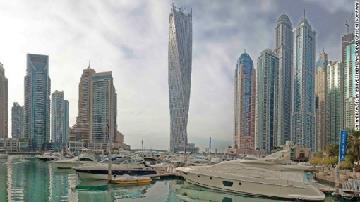 The 1 billion dirham ($272 million) residential tower has 75 floors and houses 495 apartments. It stands in the Dubai Marina, a man-made harbor.
