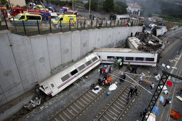 "Dozens were killed and injured when a train derailed outside the northern Spanish city of Santiago de Compostela on Wednesday, state media and witnesses said.  ""It was going so quickly ... It seems that on a curve the train started to twist, and the wagons piled up one on top of the other,"" passenger Ricardo Montesco told Cadena Ser radio station. (Reuters"