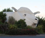 Big Sheep Wool Gallery and Big Dog Information Center, Tirau, New Zealand New Zealand is infamous for having more sheep than human residents, so it comes as no surprise that in Tirau (population less than 800) the most notable building resembles a sheep. Local craftsman Steven Clothier used corrugated iron to construct the museum—and the adjoining tourist information center, which is shaped like a dog, naturally—in 1998 as a way to boost tourism.