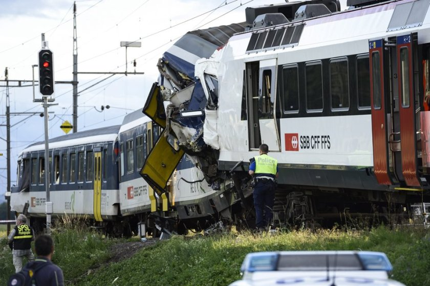 BERLIN (AP) — At least 35 people were injured, five of them seriously, in a head-on collision of two trains in western Switzerland late Monday, police said. One person had yet to be recovered from the wreckage.