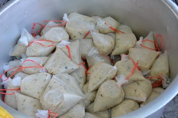 Packets of packed tasty bubur lambuk.