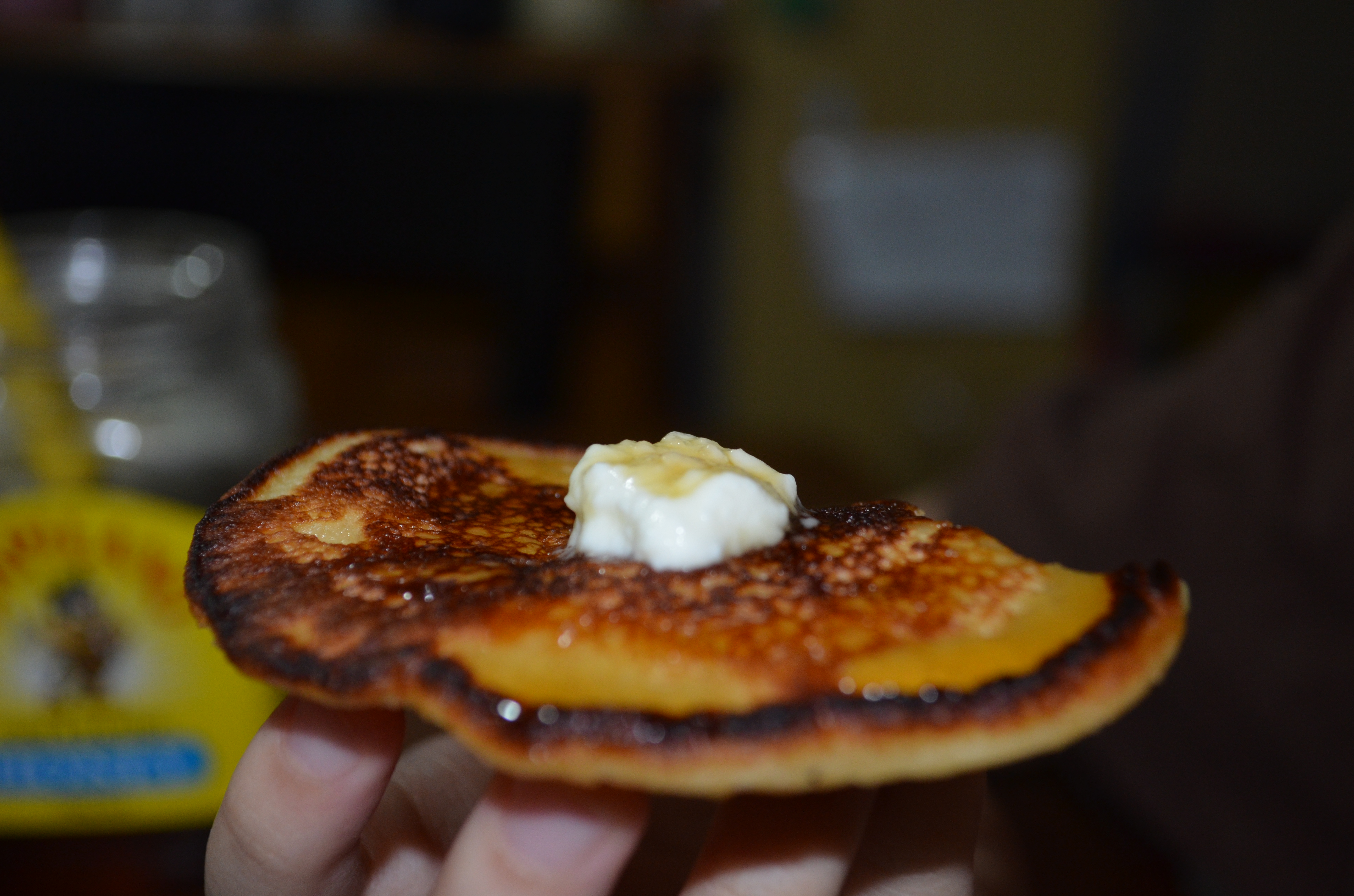 Yummy! Crumpet with honey and whipped cream.