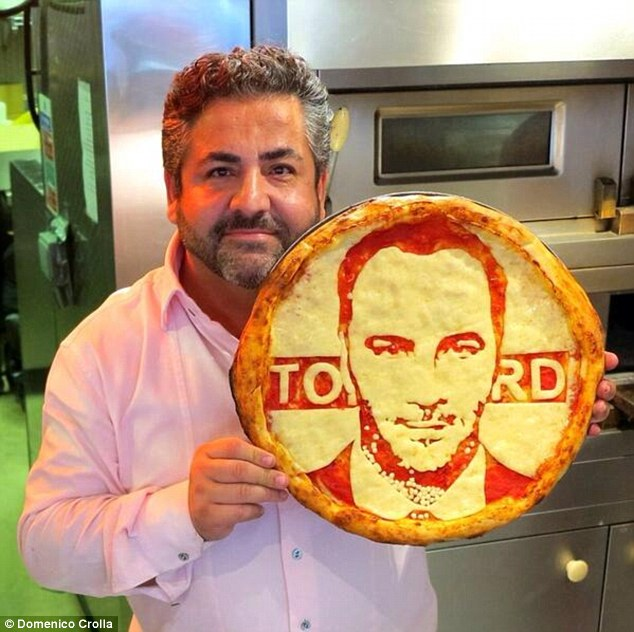 Tom Ford has been one of the easiest pizzas to create due to his 'perfect skin and lack of wrinkles'. Photo by Mail Online.