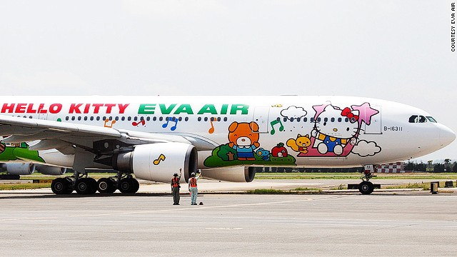 And here is EVA Air's Happy Music Time Hello Kitty jet. Obviously. It flies from Taipei to Sapporo and Guam.