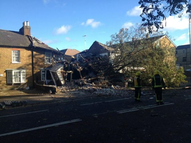 In Hounslow, a tree collapsed on a house, reportedly causing a gas explosion. (London Fire Brigade) 2 / 18 Yahoo News | Photo by London Fire Brigade / London Fire