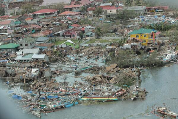 An aerial photo shows damage to Bantayan Island, Philippines, on November 9, 2013. (Facebook/Sarah Lyn)