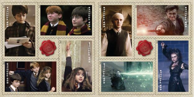 "This image released by the United States Postal service shows a variety of ""Harry Potter"" themed Forever stamps. The USPS dedicated 20 new Forever stamps, Tuesday, Nov. 19, 2013, at Universal Orlando Resort in Florida. (AP Photo/USPS)"