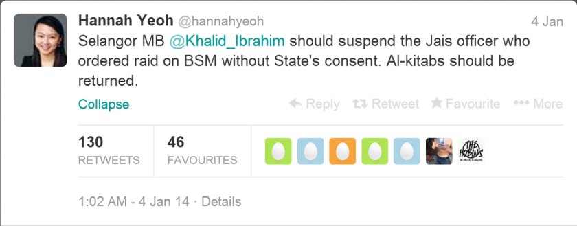 I wonder if Khalid Ibrahim would obey Hannah Yeoh.