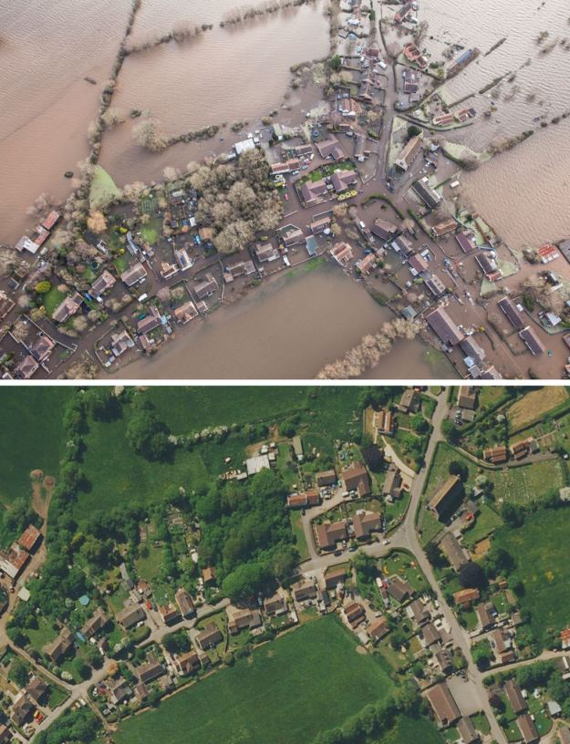 omposite aerial view of Moorland village, on the Somerset levels, during the floods (above) and before the flooding (below). The village has been evacuated as the water levels continued to rise (SWNS)