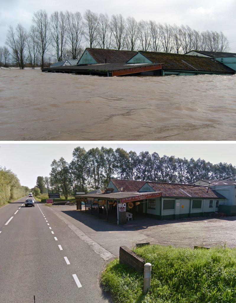 This image shows the A361 near East Lyng in Somerset before (below) and after (above) the recent heavy flooding. The road side store and workshop is completely flooded with water levels reaching approximately seven foot. (SWNS)