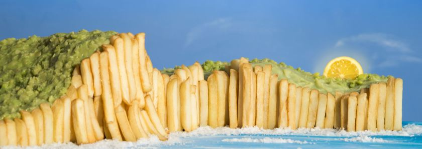 Rex Features/Rex - Prudence Staite's 'White Cliffs of Dover' features chips as the cliff face and mushy peas above. (Rex)