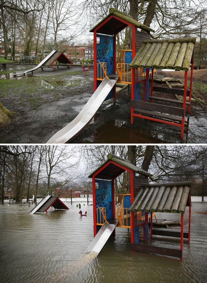 A playground has turned into a water park in Wraysbury - but no children will play here. Parts of Surrey and Berkshire have seen a sharp drop in water levels as fierce storms release their grip on the UK. (Photo by Peter Macdiarmid/Getty Images