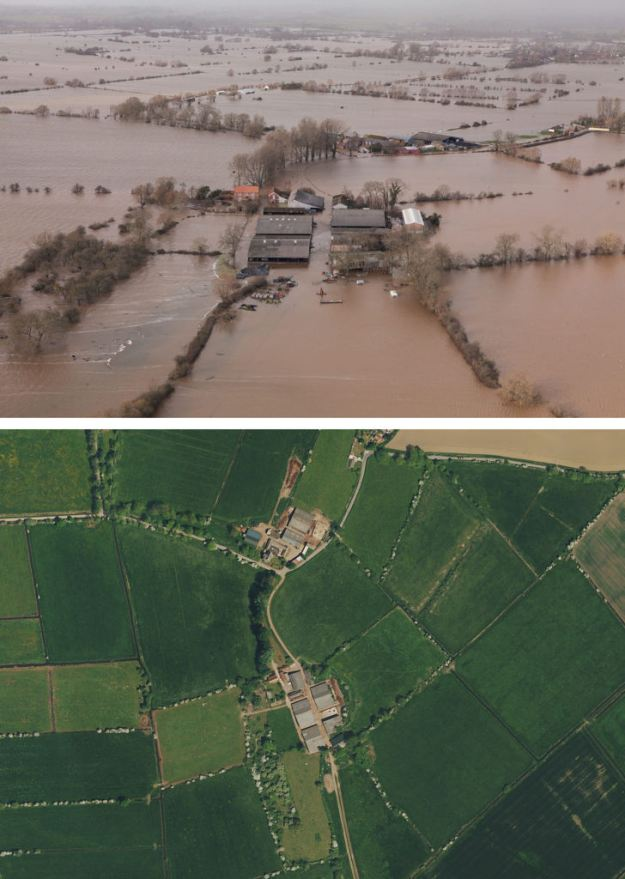 James Winslade's farm in West Yeo near Moorland can be seen in these pictures. The bottom picture shows the land before the floods, and the top image shows the farm now (SWNS)