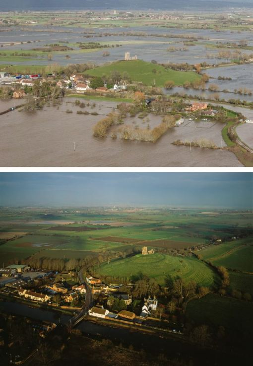 These pictures show Burrow Mump, with the bottom photograph being taken before the floods, and the top image showing how the famous hill looks now (SWNS)