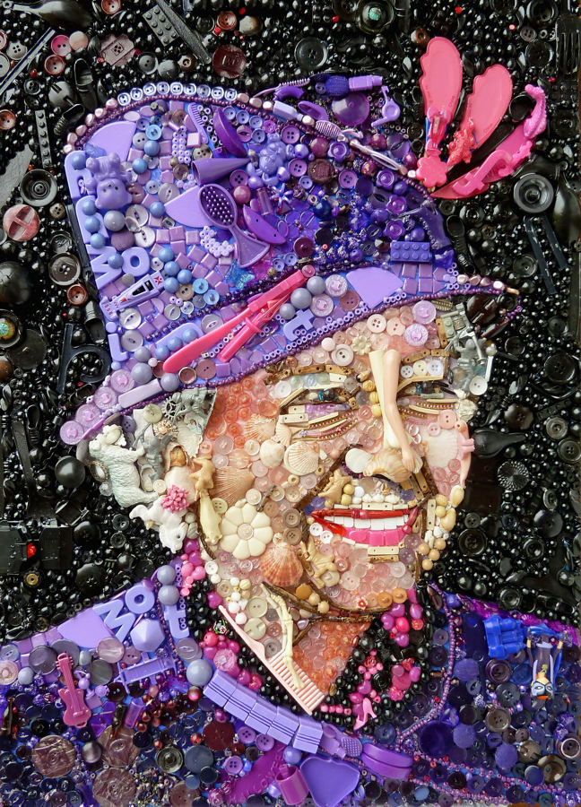 Queen Elizabeth II: The Exeter-based artist also transforms famous works of art - such as Van Gogh's 'Sunflowers' - into colourful masterpieces. (Photo by Jane Perkins/Caters News)