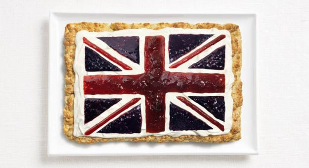 The British flag consists of scones, cream and jam. (WHYBIN\TBWA/Sydney International Food Festival)