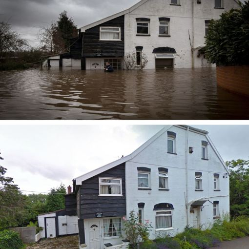 A picture showing the rising water levels at Willow House, in East Lyng, Somerset, (above), and how the house looks normally (below). The flood water rose to roof levels in some properties in the village (SWNS)
