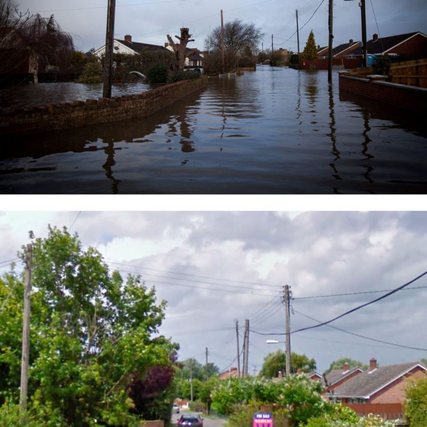 This composite image shows Church Street, the main high street in Moorland before (below) and after the flooding on the Somerset levels. (SWNS)