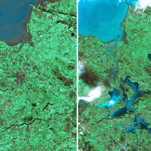 Satellite photos of the River Parrett on the Somerset Levels taken before the recent flooding (left) and on February 8, 2014, showing the full extent of the flooded area. (SWNS)