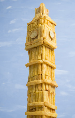 Prudence Staite recreates iconic British landmarks using chips and mushy peas (Rex Features)