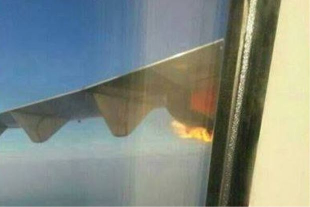 Malindo Air's ATR 72-600 plane's turboprop engine caught fire.