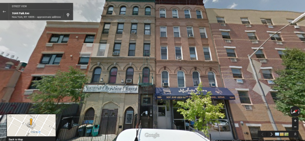 This undated file photo shows two buildings (center) on 116th St. and Park Ave in East Harlem, that are the subject of building collapse in NYC on March 12, 2014. (Via Google Maps)