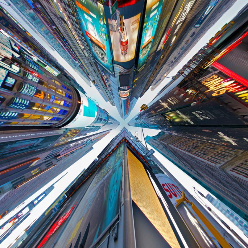 Closing in: This photograph of Times Square, New York, can give the viewer a strange sense of vertigo. (Randy Scott Slavin/Rex Features)