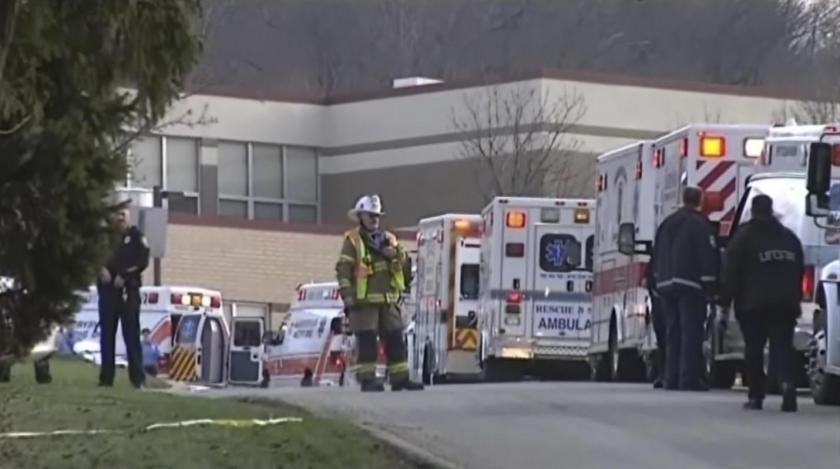 Emergency vehicles are seen outside of Franklin Regional High School after reports of stabbing injuries in Murrysville, Pennsylvania April 9, 2014, in this still taken from video courtesy of WPXI. (REUTERS/WPXI/Handout via Reuters)