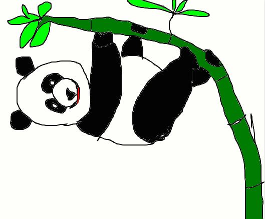 A panda stuck on a bamboo tree. Drawing by Ahmad Ali Karim.