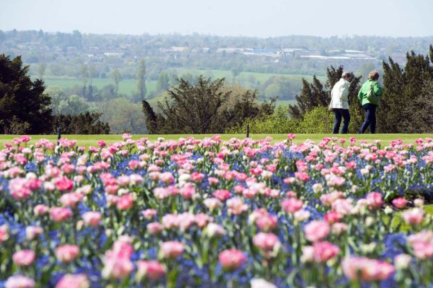 People enoy the sunny weather in the gardens at Cliveden House, Buckinghamshire (Rex Features)