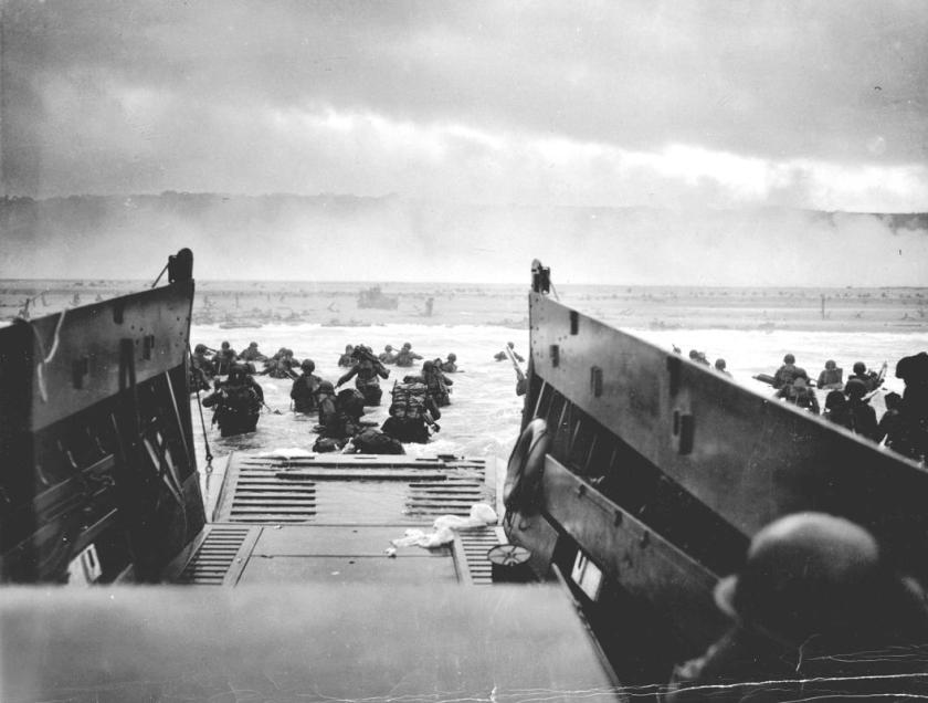 U.S. troops wade ashore from a Coast Guard landing craft at Omaha Beach during the Normandy D-Day landings near Vierville sur Mer, France, on June 6, 1944. (REUTERS/US National Archives)
