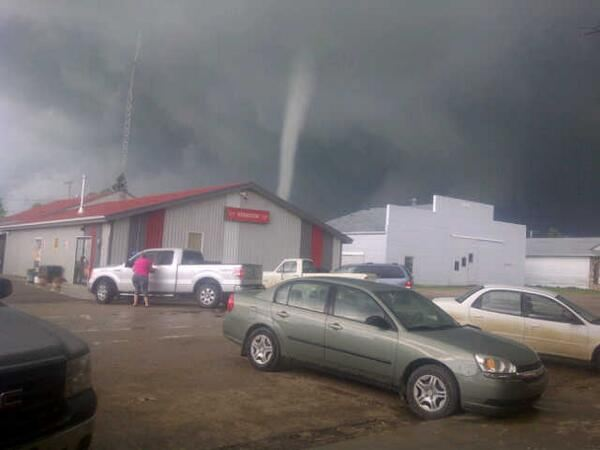 A tornado touches down near Kenaston, Sask., on July 5, 2013.