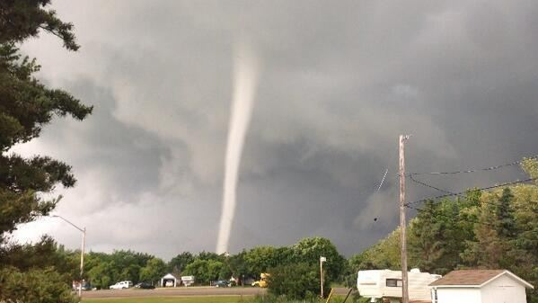 A tornado touches down north of Kenaston, Sask., on July 5, 2013.