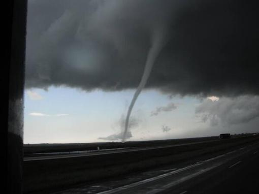 A Twitter photo of a tornado near Kenaston, Sask. Tornadoes reportedly passed close to several Saskatchewan towns on July 6. Twitter/@PQuinlanGlobal photo