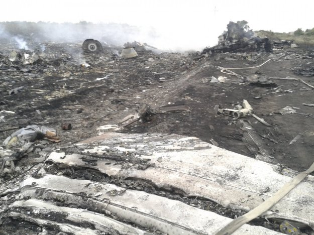 A general view shows the site of a Malaysia Airlines Boeing 777 plane crash in the settlement of Grabovo in the Donetsk region, July 17, 2014. The Malaysian airliner was shot down over eastern Ukraine by pro-Russian militants on Thursday, killing all 295 people aboard, a Ukrainian interior ministry official said. (Photo REUTERS/Maxim Zmeyev).