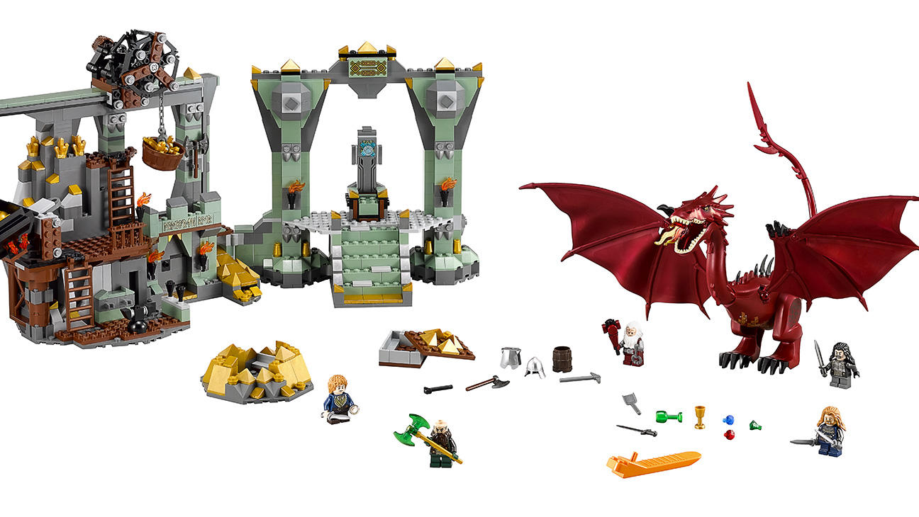 The Hobbit: The Lonely Mountain (Model #79018). Coming out this October 15 at a retail price of $130, this Tolkien-tastic set features the dwarven homeland from the second Hobbit film, as well as minifigures of Bilbo and four dwarf pals. Oh yeah, there's a dragon too.
