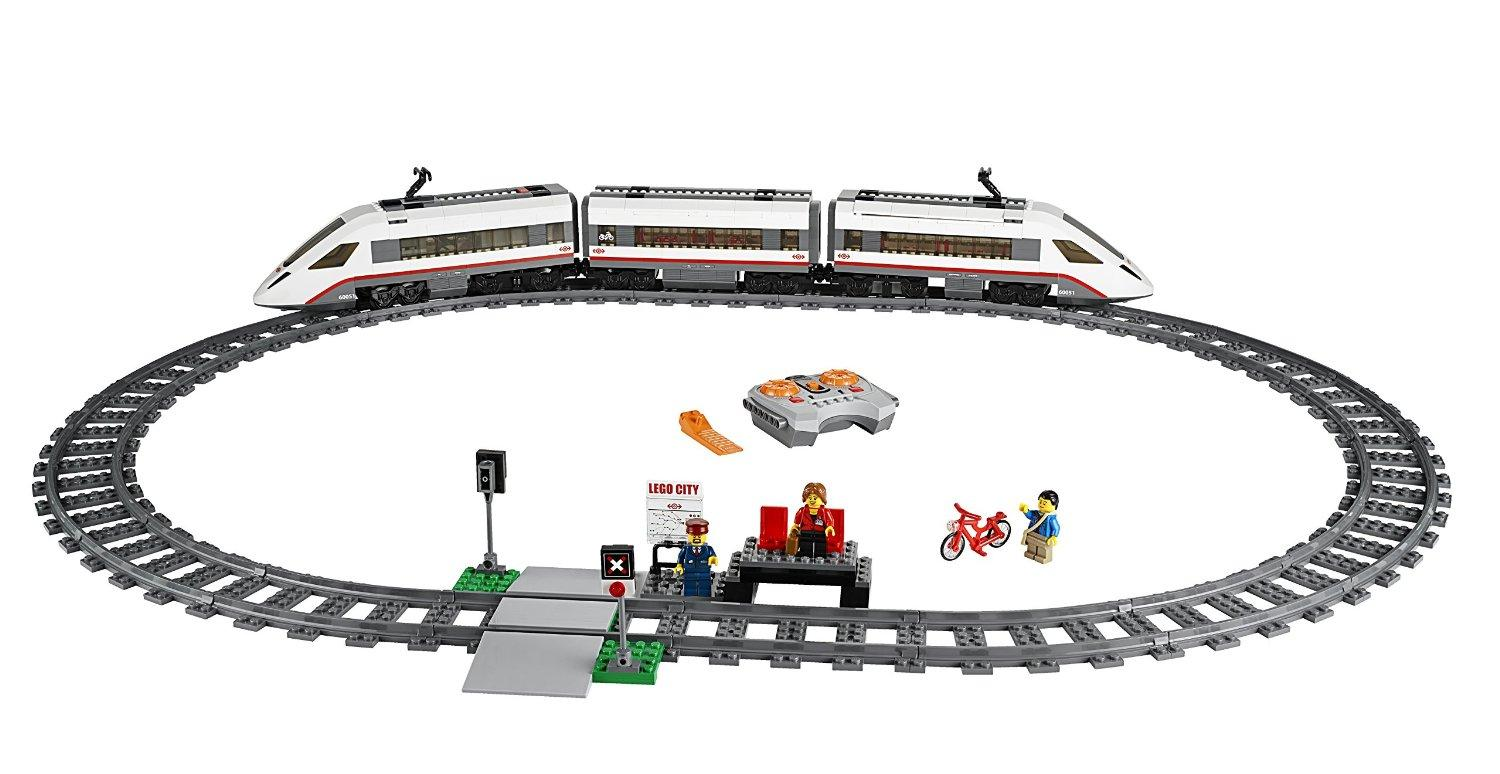 High-Speed Passenger Train (Model #60051). Trains have been a mainstay Lego product for years, but this year's is the most advanced yet. The sleek, high-tech lines hide a sleek, high-tech interior, boasting an eight-channel infra-red remote controller -- and it comes with enough track to build a good-sized loop.